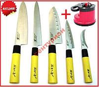 Ножи сверх острые набор GOLD SUN 5шт+точилка Knife Sharpener