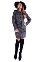 Женское серое демисезонное шерстяное пальто арт. Луара лайт шерсть меланж 4988