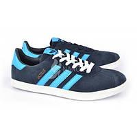 Кроссовки мужские замшевые синие Adidas Gazelle, Синий, 46