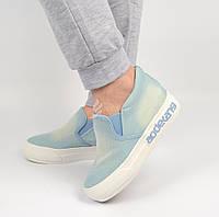 Слипоны женские джинсовые светлые на платформе Jeans TM Wonex, Голубой, 36