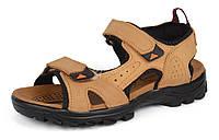 Сандалии мужские кожаные песочные на липучках Reastep Турция, Бежевый, 40