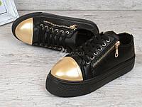 Слипоны женские черные на платформе на шнуровке Haker Original, Черный, 37
