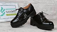 Ботинки лоферы женские черные на каблуке со шнуровкой Mallanee, Черный, 36