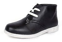 Ботинки женские черные на белой подошве на шнуровке Bristol, Черный, 37