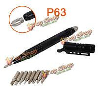 P63 тактический ручка инструмента выживания съемный стальной молоток самообороны с 8шт отвертка