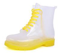 Резиновые ботинки женские прозрачные с желтым Rain boot, Желтый, 38