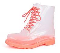 Резиновые ботинки женские прозрачные с коралловым Rain boot, Розовый, 36