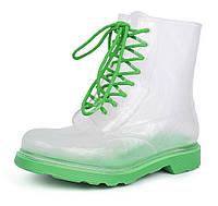 Резиновые ботинки женские прозрачные с зеленым Rain boot, Зеленый, 38