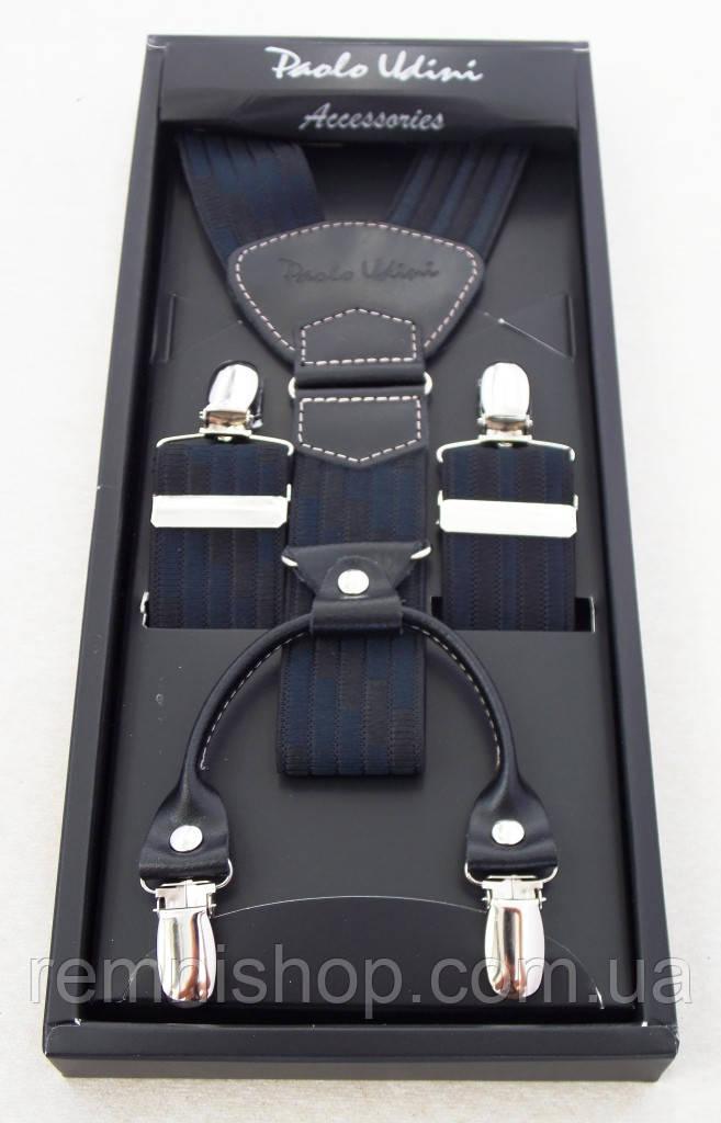 Черно-синие мужские подтяжки Paolo Udini