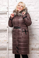 """Пуховик женский (зима) - """"EVELINA"""" цвет шоколад, р-р 50, 52, 54, 56, 58, 60"""