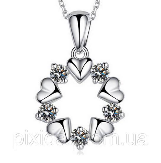 Подвеска венок сердечек на цепочке покрытие 925 серебро