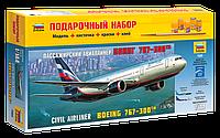 Подарочный набор сборная модель Zvezda (1:144) Пассажирский авиалайнер Боинг 767-300