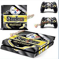 Игра фантазии тема наклейка пропуск за кожей PlayStation 4 Консоль PS4 контроллера Pittsburgh Steelers