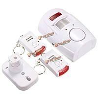 2в1 движения беспроводной сигнализации инфракрасный сигнал тревоги безопасности звон домой детектор с дистанционным управлением + держа