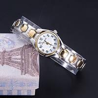 Часы женские кварцевые наручные серебристо-золотистый металлический браслет