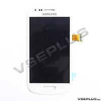Дисплей (экран) Samsung I8190 Galaxy S3 mini, белый, с сенсорным стеклом