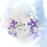 """Серебряные серьги """"Снежинка"""" с фиолетовыми фианитами"""