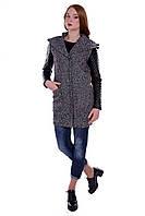 Женское серое демисезонное пальто с капюшоном арт. Делфи 5865