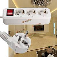 Ес plug10a 250v 3 удлинитель кабеля питания сетевой розетке сетевой шнур адаптер штепсельной вилки полосы