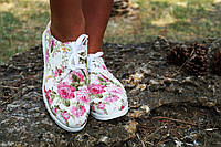 Белые стильные тканевые мокасины в цветочек на белой подошве. АРТ-0566