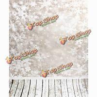 3x5ft 0.9mx1.5m винил snowfake деревянный пол фотографии фонов фоны студии реквизита