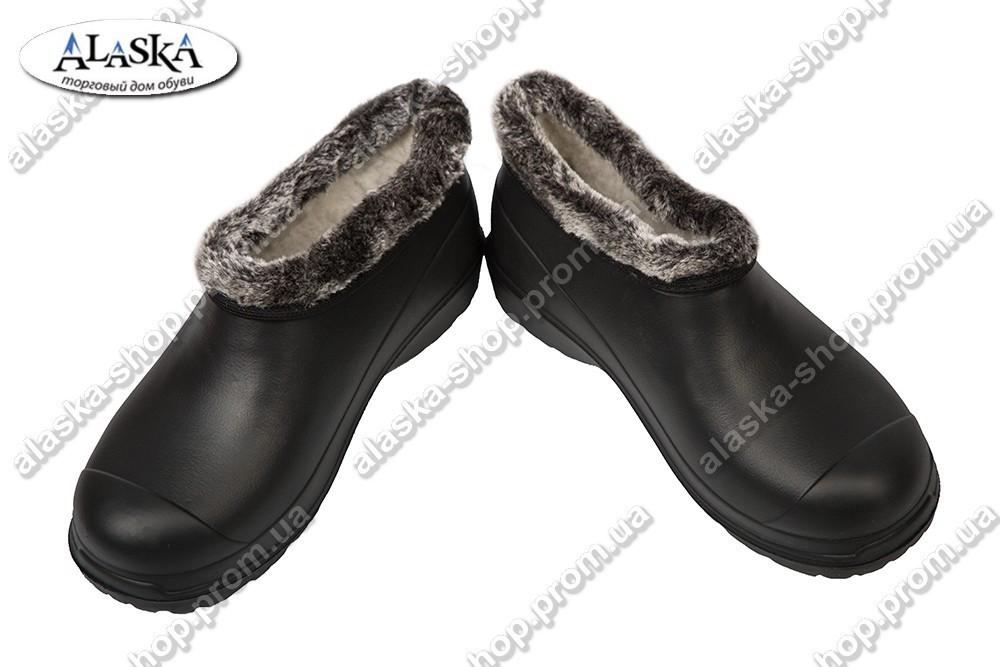 Женские галоши меховые черный (Код: Носок)