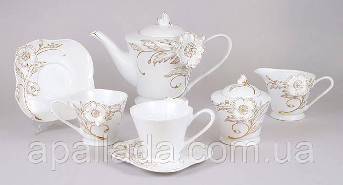 Чайный сервиз Золотой цветок 15 предметов