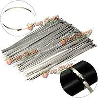 100шт хром 30см длинные ремни из нержавеющей стали самоблокирующиеся кабель связи почтового индекса