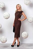 Женское приталенное платье миди с перфорацией коричневого цвета