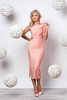 Женское приталенное платье миди с перфорацией цвета пудра
