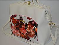 """Женская сумка """"Fashion"""" с цветами, белая"""