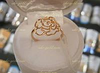 Золотая роза. кольцо 585 пробы