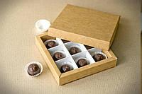 Упаковка для конфет с ячейками крафт 145*145*29мм