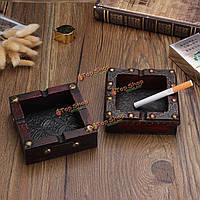 Старинные деревянные Аксессуар пепельницы ручной работы инкрустированные дыма портсигар