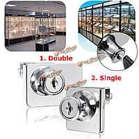 Одиночный / двойной стеклянный шкаф замок двери кулачок ключ витрина дисплей замок с 2 ключами