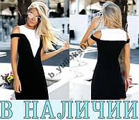 Стильное приталенное двухцветное  платье со спадающими плечами Verve