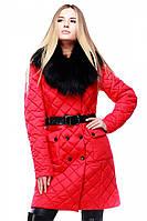 Женская зимняя куртка стеганная с мехом