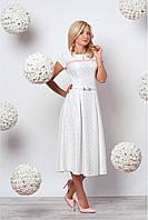 Женское нарядное платье с нежным принтом молочного цвета