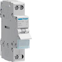 SFT125 Модульный установочный переключатель I-O-II, общая точка сверху 1P 25A 230V (Hager,Германия)