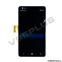 Дисплей (экран) Nokia Lumia 900, черный, с сенсорным стеклом