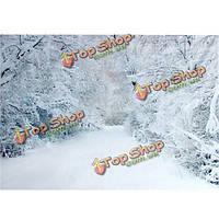 2.1 х 1.5м Рождество тяжелый снег деревья дорога в кривых фотостудия фон