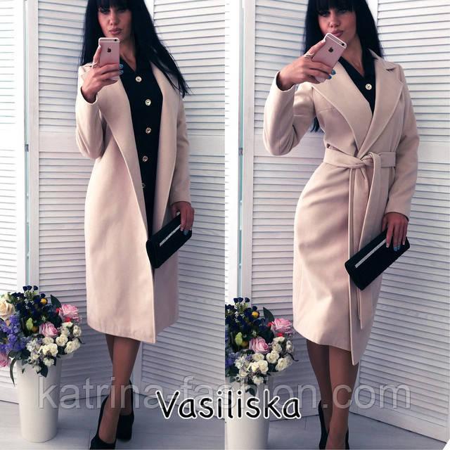 4c42a4b2ca0 Женское красивое пальто на запах до колен  ниже колен с поясом (5 цветов).  Цена указана оптовая
