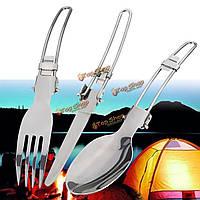 3шт кемпинга барбекю поход пикник складной набор столовых приборов нож вилка ложка посуды с мешком