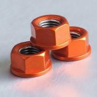 Алюминиевая гайка Pro-Bolt M10 c неотделимой шайбой, оранжевая