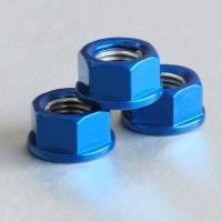 Алюминиевая гайка Pro-Bolt M10 c неотделимой шайбой, синяя