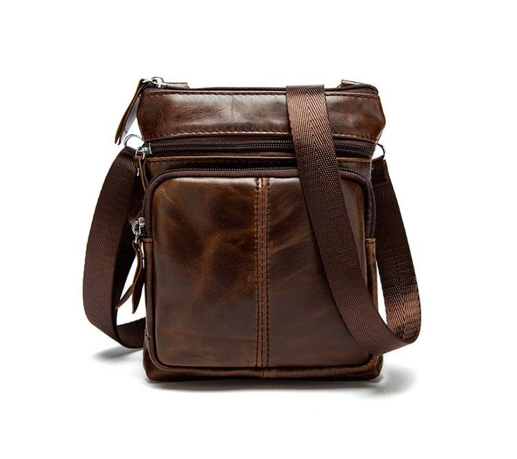 Мужская кожаная мини-сумка через плечо Marrant | коричневая