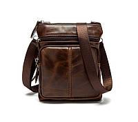 Мужская кожаная мини-сумка через плечо Marrant | коричневая, фото 1