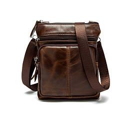 Мужская кожаная мини-сумка через плечо Marrant   коричневая