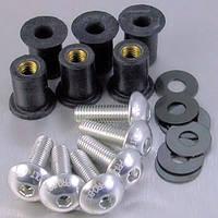 Алюминиевые болты крепления стекла Pro Bolt серебр. ETCHED (6 шт в комплекте)
