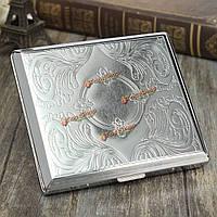 Травления металла мундштук случай коробка для сигарет серебра 20